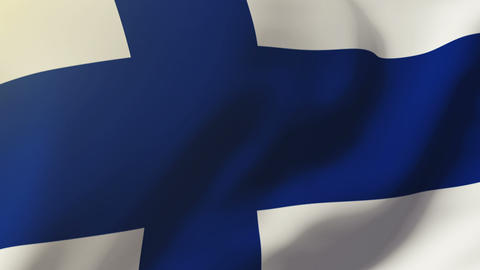 Finland flag waving in the wind. Looping sun rises style. Animation loop Animation