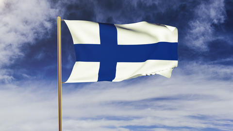 Finland flag waving in the wind. Looping sun rises style. Animation loop. Green  Animation