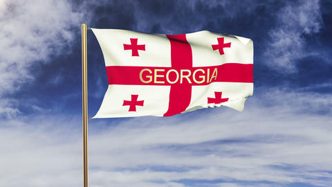 Georgia flag with title waving in the wind. Looping sun... Stock Video Footage