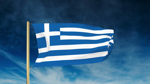Greece flag slider style. Waving in the wind with cloud... Stock Video Footage
