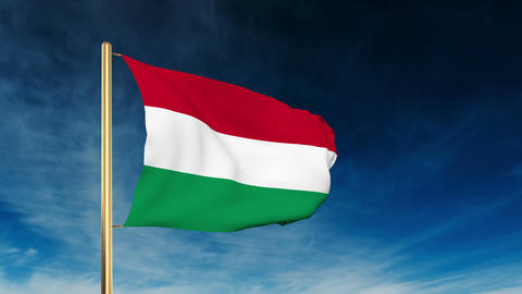 Hungary flag slider style. Waving in the wind with cloud... Stock Video Footage