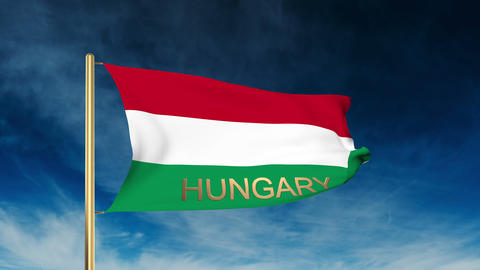Hungary flag slider style with title. Waving in the wind with cloud background a Animation