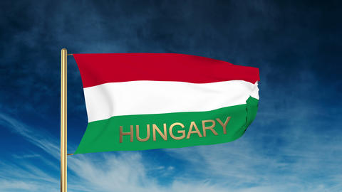 Hungary flag slider style with title. Waving in the wind... Stock Video Footage