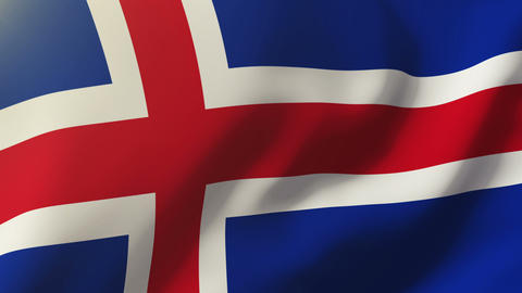 Iceland flag waving in the wind. Looping sun rises style. Animation loop Animation