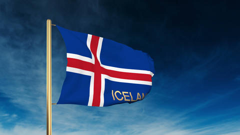 Iceland flag slider style with title. Waving in the wind... Stock Video Footage