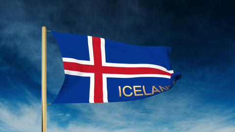 Iceland flag slider style with title. Waving in the wind with cloud background a Animation