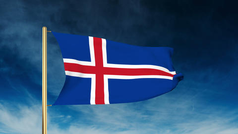 Iceland flag slider style. Waving in the wind with cloud background animation Animation