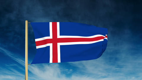 Iceland flag slider style. Waving in the wind with cloud... Stock Video Footage