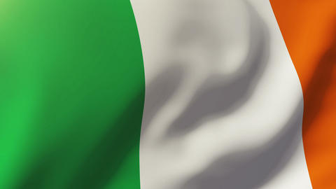 Ireland flag waving in the wind. Looping sun rises style. Animation loop Animation