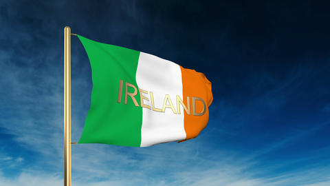 Ireland flag slider style with title. Waving in the wind... Stock Video Footage