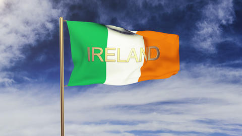 Ireland flag with title waving in the wind. Looping sun... Stock Video Footage