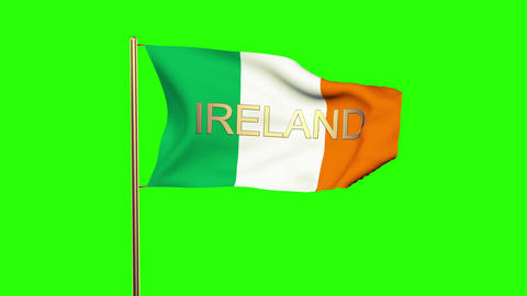 Ireland flag with title waving in the wind. Looping sun rises style. Animation l Animation
