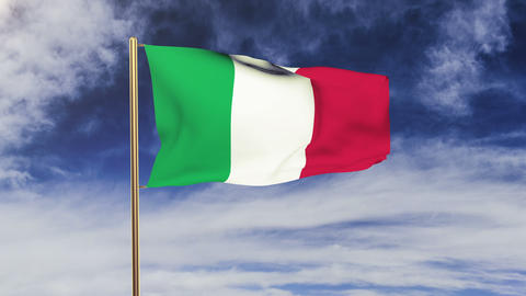 Italy flag waving in the wind. Looping sun rises style.... Stock Video Footage