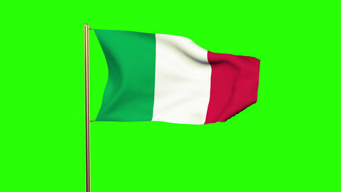 Italy Flag Waving In The Wind. Looping Sun Rises Style. Animation Loop. Green Sc stock footage