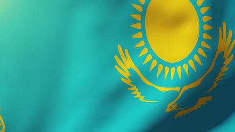 Kazakhstan flag waving in the wind. Looping sun rises... Stock Video Footage