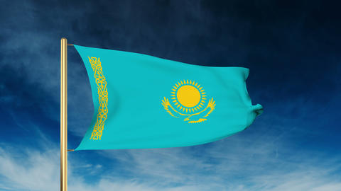 Kazakhstan flag slider style. Waving in the wind with... Stock Video Footage