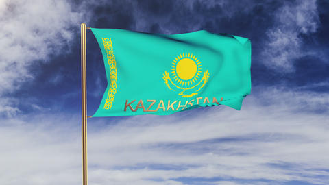 Kazakhstan flag with title waving in the wind. Looping... Stock Video Footage