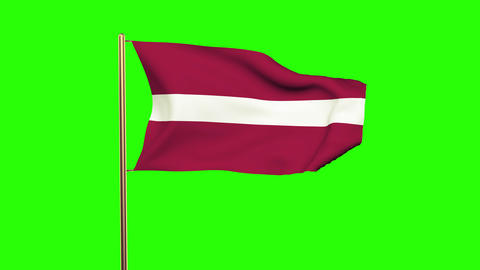 Latvia flag waving in the wind. Looping sun rises style. Animation loop. Green s Animation