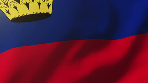 Liechtenstein flag waving in the wind. Looping sun rises style. Animation loop Animation