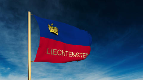 Liechtenstein flag slider style with title. Waving in the... Stock Video Footage