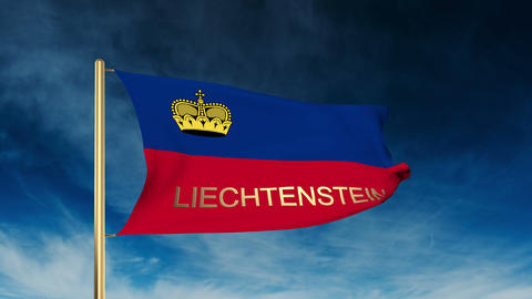 Liechtenstein flag slider style with title. Waving in the wind with cloud backgr Animation