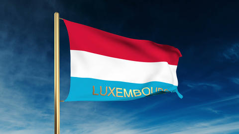 Luxembourg flag slider style with title. Waving in the... Stock Video Footage