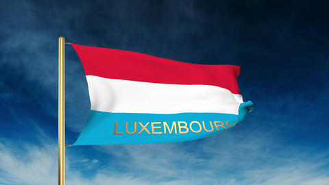 Luxembourg flag slider style with title. Waving in the wind with cloud backgroun Animation