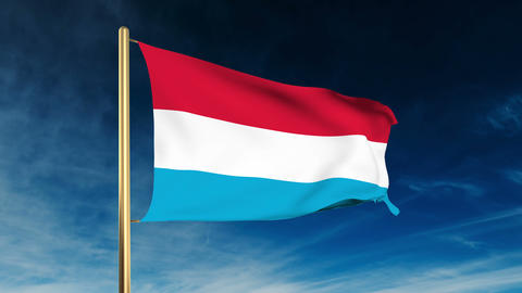 Luxembourg flag slider style. Waving in the wind with... Stock Video Footage