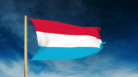 Luxembourg flag slider style. Waving in the wind with cloud background animation Animation