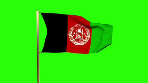Afghanistan flag waving in the wind. Green screen, alpha matte. Loopable animati Animation
