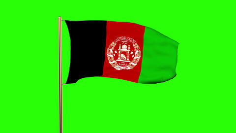Afghanistan flag waving in the wind. Green screen, alpha... Stock Video Footage