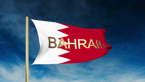 Bahrain flag slider style with title. Waving in the wind with cloud background a Animation