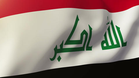 Iraq flag waving in the wind. Looping sun rises style. Animation loop Animation
