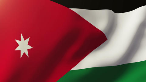 Jordan flag waving in the wind. Looping sun rises style.... Stock Video Footage