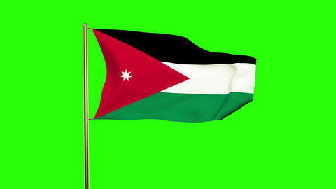 Jordan flag waving in the wind. Green screen, alpha... Stock Video Footage