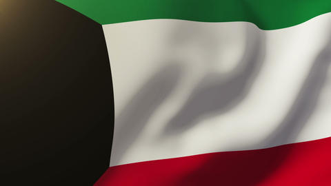 Kuwait flag waving in the wind. Looping sun rises style. Animation loop Animation
