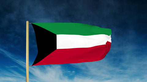 Kuwait flag slider style. Waving in the win with cloud... Stock Video Footage