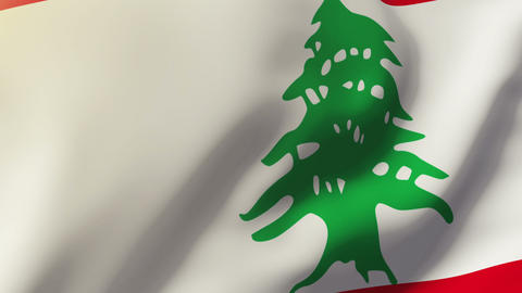 Lebanon flag waving in the wind. Looping sun rises style. Animation loop Animation