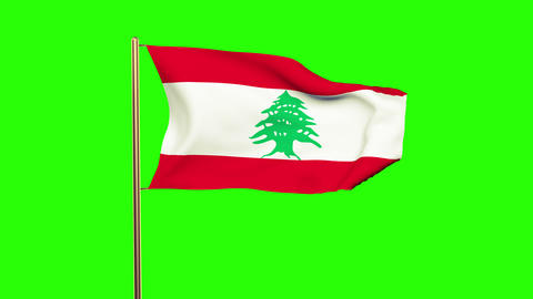 Lebanon flag waving in the wind. Green screen, alpha... Stock Video Footage