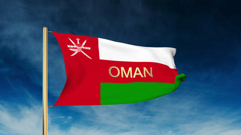 Oman flag slider style with title. Waving in the wind with cloud background anim Animation