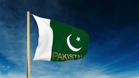 Pakistan flag slider style with title. Waving in the wind... Stock Video Footage