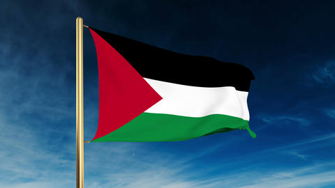 Palestine flag slider style. Waving in the win with cloud... Stock Video Footage