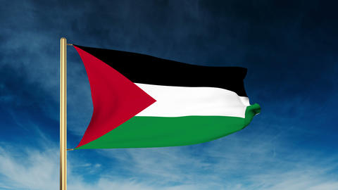 Palestine flag slider style. Waving in the win with cloud background animation Animation