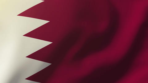 Qatar flag waving in the wind. Looping sun rises style. Animation loop Animation