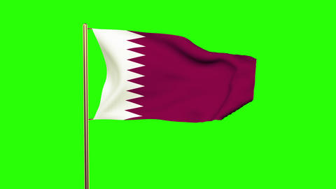 Qatar flag waving in the wind. Green screen, alpha matte. Loopable animation Animation