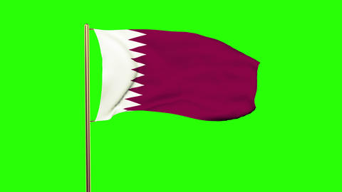 Qatar flag waving in the wind. Green screen, alpha matte.... Stock Video Footage