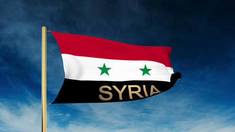 Syria flag slider style with title. Waving in the wind with cloud background ani Animation