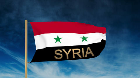 Syria flag slider style with title. Waving in the wind... Stock Video Footage