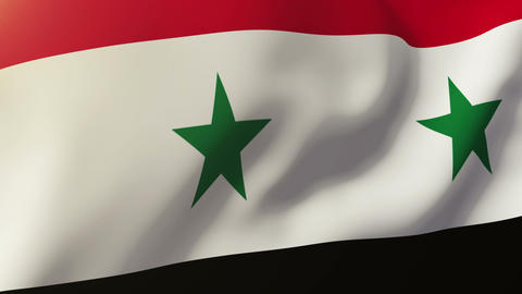 Syria flag waving in the wind. Looping sun rises style. Animation loop Animation
