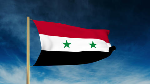 Syria flag slider style. Waving in the win with cloud background animation Animation